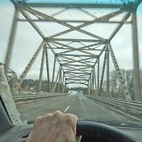 WINTER DRIVING. Bridge on Interstate 90, east of Seattle Washington.