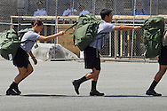 New cadets move between stations during Reception Day at the United States Military Academy at West Point, New York. About 1,200 cadet candidates, the West Point Class of 2018, reported to the academy to begin their military careers.