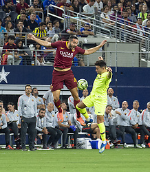 July 31, 2018 - Arlington, Texas, U.S.A - Both players trying attempting to control the ball (Credit Image: © Hoss McBain via ZUMA Wire)