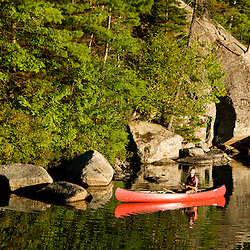 Canoeing on Sand Pond in Lempster, New Hampshire.
