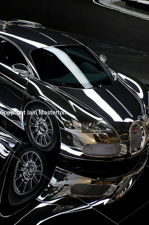 Bugatti Veyron with silver paint on display at Autostadt visitor centre adjacent to Volkswagen factory at Wolfsburg in Germany
