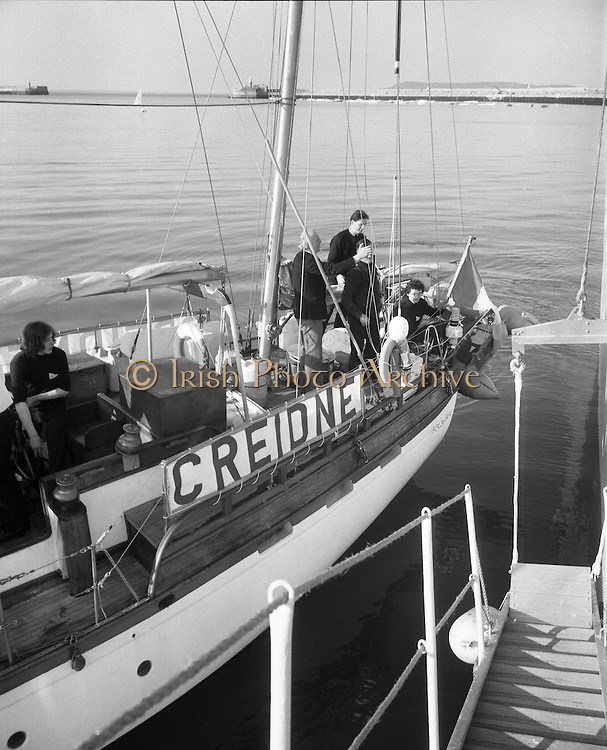"Transatlantic Race - 'Creidne' Old Sailor .15/04/1976.04/15/1976.15th April 1976.The sail training vessel ""Creidne"" leaves Dun Laoghaire to participate in the transatlantic races of sail training vessels organised to coincide  with the American Bicentennial Commemoration...Picture shows the ""Creidne"" casting off from Dun Laoghaire harbour.  Originally named Galcador, Creidne is a 48ft bermudan ketch built in Norway in 1967 as a private yacht."