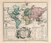 Mappa Mundi generalis General world map by Euler, Leonhard, 1707-1783 Published in 1753 by Ex officina Michaelis, Berolini. <br /> Hand colored copperplate engraving map on 2 sheets. Shows North America the Northwest coast is blank and a river provides passage between the Great Lakes and the Pacific. Australia and New Zealand are depicted with partially completed coastlines. Relief shown pictorially. Prime meridian is Ferro. Includes two large explanation tables. In lower right corner: 27. Mappa Mundi Generalis.