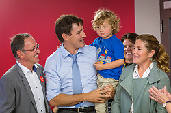 Richard Hebert, Liberal candidate for the byelection in Lac-Saint-Jean, Justin Trudeau, Sophie Gregoire and their son Hadrien, 3, are seen at a seniors' home in Roberval, Que, Canada, on Thursday, October 19, 2017. Photo by Francis Vachon/CP/ABACAPRESS.COM