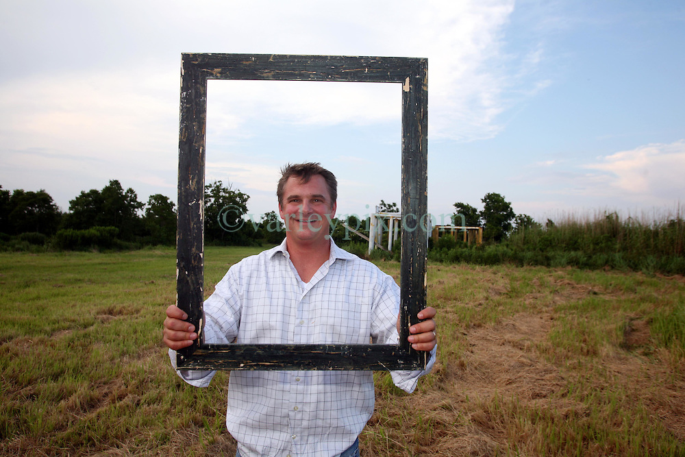 01 June 2010. Breton Sound Marina, Hopedale, Louisiana, USA.  <br /> John Andry, a lawyer representing local fishermen on set for Spike Lee's upcoming movie, 'If God is Willing and da Creek Don't Rise.'<br /> Photo ©; Charlie Varley/varleypix.com.