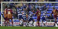© Peter Spurrier/Sportsbeat Images <br /><br /> 04/10/2003 - Photo  Peter Spurrier<br />2003/04 Nationwide Football Div 1 Reading Town FC v Bradford City FC.<br />Reading Players celebrate as Andy Hughes scores the equaliser.