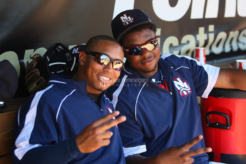 Moises Sierra (43) and Mike McDade (40) of the New Hampshire Fisher Cats on July 31, 2011 at Northeast Delta Dental Stadium in Manchester, New Hampshire. Photo by Brace Hemmelgarn
