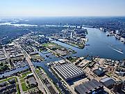 Nederland, Noord-Holland, Gemeente Amsterdam; 02-09-2020; zicht op Buiksloterham, terrein van de voormalige NDSM werf met IJ-hallen. Johan van Hasseltkanaal. Gezien naar het Centraal Station, IJburg aan de verre horizon.<br /> Buiksloterham, site of the former NDSM wharf with IJ halls. Johan van Hasselt Canal.<br /> <br /> luchtfoto (toeslag op standaard tarieven);<br /> aerial photo (additional fee required)<br /> copyright © 2020 foto/photo Siebe Swart