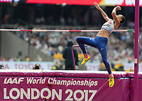 Athletics - 2017 IAAF London World Athletics Championships - Day Two (AM Session)<br /> <br /> Event: High Jump Women - Heptathlon<br /> <br /> Katarina Johnson-Thompson leaps in an attempt to clear the bar <br /> <br /> COLORSPORT/DANIEL BEARHAM