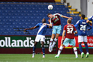 Clayton Donaldson of Birmingham City and Michael Keane of Burnley challenge for the ball. Skybet football league championship match, Burnley  v Birmingham City at Turf Moor in Burnley, Lancs on Saturday 15th August 2015.<br /> pic by Chris Stading, Andrew Orchard sports photography.