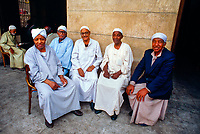 Egyptian men sitting outside a cafe, Cairo, Egypt