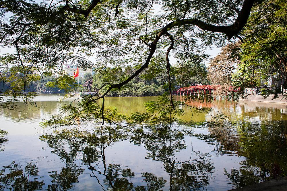 View of Ngoc Son Temple and Huc Bridge. Hanoi, Vietnam