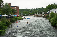 """Whitewater enthusiasts flocked to Trestle View Park for Mill City Park's """"Winni River Days"""" on Saturday.  (Karen Bobotas/for the Laconia Daily Sun)"""