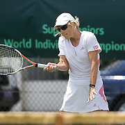 Susy Burggraff, Switzerland, in action in the 65 Womens Singles  during the 2009 ITF Super-Seniors World Team and Individual Championships at Perth, Western Australia, between 2-15th November, 2009.