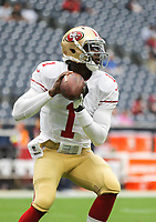 August 28, 2014: San Francisco 49ers quarterback Josh Johnson (1) warms up during the NFL American Football Herren USA preseason game between the San Francisco 49ers and the Houston Texas at NRG Stadium in Houston, TX. NFL American Football Herren USA AUG 28 Preseason - 49ers at Texans PUBLICATIONxINxGERxSUIxAUTxHUNxRUSxSWExNORxONLY Icon1408284907<br />