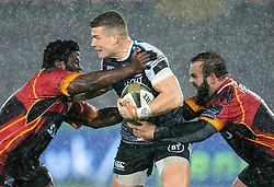 Scott Williams of Ospreys under pressure from Jacques Du Toit of Southern Kings<br /> <br /> Photographer Simon King/Replay Images<br /> <br /> Guinness PRO14 Round 6 - Ospreys v Southern Kings - Saturday 9th November 2019 - Liberty Stadium - Swansea<br /> <br /> World Copyright © Replay Images . All rights reserved. info@replayimages.co.uk - http://replayimages.co.uk