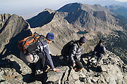 Hikers descend Blanca Peak, a fourteener in the Sangre de Cristo Mountains, Colorado on July 16, 2006.