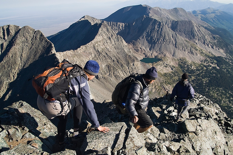 Hikers descend Blanca Peak, a fourteener in the Sangre de Cristo Mountains, Colorado on July 16, 2006.