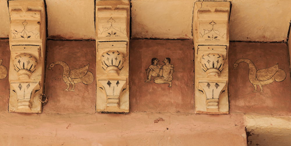 An erotic drawing in Amer Fort in Jaipur, India.