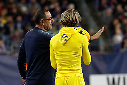 May 15, 2019 - Foxborough, MA, U.S. - FOXBOROUGH, MA - MAY 15: Chelsea FC head coach Maurizio Sarri instructs Chelsea FC midfielder Conor Gallagher (51) before he enters during the Final Whistle on Hate match between the New England Revolution and Chelsea Football Club on May 15, 2019, at Gillette Stadium in Foxborough, Massachusetts. (Photo by Fred Kfoury III/Icon Sportswire) (Credit Image: © Fred Kfoury Iii/Icon SMI via ZUMA Press)