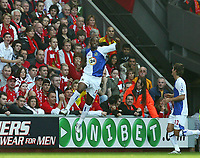 Fotball<br /> England <br /> Foto: Propaganda/Digitalsport<br /> NORWAY ONLY<br /> <br /> LIVERPOOL, ENGLAND - SATURDAY, OCTOBER 14th , 2006: Blackburn Rovers' Shabani Nonda celebrates scoring the opening goal against Liverpool during the Premiership match at Anfield.
