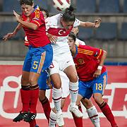 Turkey's Yeliz DEMIR (C) and Spain's Ruth GARCIA (L) during their UEFA 2013 Woman's Euro Qualifying Group Stage Group 2 soccer match Turkey betwen Spain at Kasimpasa Recep Tayyip Erdogan stadium in Istanbul September 17, 2011. Photo by TURKPIX