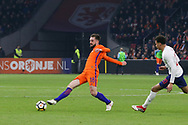 Netherlands Midfielder Davy Propper Midfielder (Brighton & Hove Albion), battles with England midfielder Dele Alli during the Friendly match between Netherlands and England at the Amsterdam Arena, Amsterdam, Netherlands on 23 March 2018. Picture by Phil Duncan.