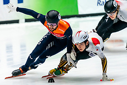 Daan Breeuwsma in action with Ibuki  Hayahi on the 1000 meter during ISU World Cup Finals Shorttrack 2020 on February 14, 2020 in Optisport Sportboulevard Dordrecht.