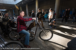 Paul Wideman stages for the grand entry into the Annual Mooneyes Yokohama Hot Rod and Custom Show. Japan. Sunday, December 7, 2014. Photograph ©2014 Michael Lichter.