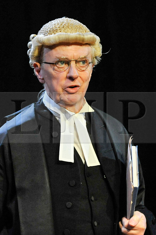 """© Licensed to London News Pictures. 20/10/2017. London, UK. Philip Franks as Mr Myers QC.  Photocall for """"Witness for the Prosecution"""", by Agatha Christie, directed by Lucy Bailey, at London County Hall.  The play opens 23 October. Photo credit : Stephen Chung/LNP"""