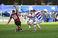 Football - 2020 / 2021 Sky Bet Championship - Queens Park Rangers vs AFC Bournemouth - Kiyan Prince Foundation Stadium<br /> <br /> Charlie Austin (Queens Park Rangers) sees his shot blocked by Cameron Carter-Vickers (AFC Bournemouth) <br /> <br /> COLORSPORT/DANIEL BEARHAM