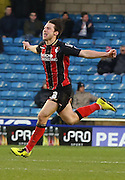 Harry Arter goal celebration during the Sky Bet Championship match between Millwall and Bournemouth at The Den, London, England on 28 December 2014. Photo by Matthew Redman.