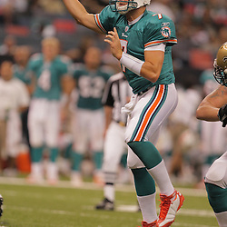 2008 August 28: Quarterback, Chad Henne (7) throws a pass against the New Orleans Saints in a preseason match up at the Louisiana Superdome in New Orleans, LA.