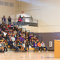 022213       Brian Leddy<br /> Ed Lash, a teacher at Chief Manualito Middle School, speaks to students at Miyamura High School Friday afternoon during a Black History Month celebration. The event featured music, singing, dancing and several speakers.