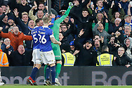 Oldham Athletic goalkeeper Daniel Iversen (1) celebrates his save that kept Oldham Athletic in the cup, during The FA Cup 3rd round match between Fulham and Oldham Athletic at Craven Cottage, London, England on 6 January 2019.