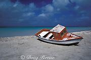 fishing dory on beach,<br /> Aruba, Netherland Antilles ( Caribbean Sea )