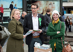 © Licensed to London News Pictures.  06/05/2015. Bristol, UK.  Picture of Natalie Bennett, leader of the Green Party with Darren Hall, Green PPC for Bristol West, and Jack Monroe, campaigning in the Bristol West seat.  Author and Food Poverty Campaigner, Jack Monroe, came to Bristol West to support Green Party PPC Darren Hall in one of the Green Party's key target constituencies. Monroe met Hall alongside Green Party Leader, Natalie Bennett.  Photo credit : Simon Chapman/LNP