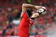 Gareth Bale of Wales  prepares to take a long throw in. .Wales v Georgia , FIFA World Cup qualifier, European group D match at the Cardiff city Stadium in Cardiff on Sunday 9th October 2016. pic by Andrew Orchard, Andrew Orchard sports photography