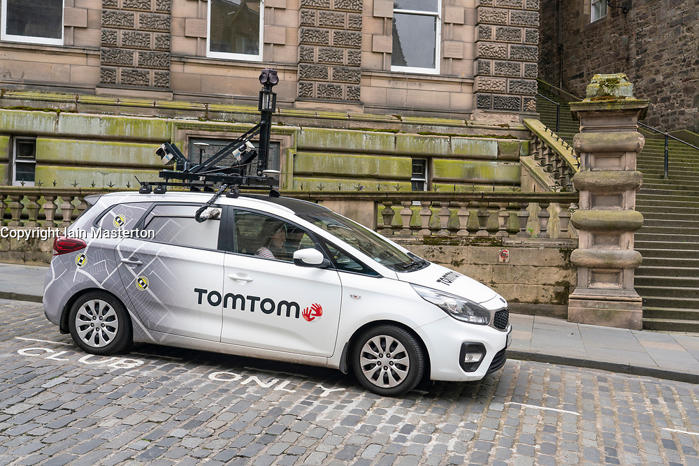 Edinburgh, Scotland, UK. 3 July, 2020. Shops and businesses are re-opening and getting back to normal in Scotland after coronavirus lockdown on such businesses were relaxed this week.  Street view car from Tom Tom driving on deserted streets in Old Town.  Iain Masterton/Alamy Live News
