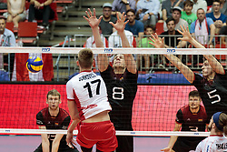 09.06.2017, TipsArena, Linz, AUT, FIVB, World League, Österreich vs Deutschland, Division III, Gruppe C, Herren, im Bild v.l.: Mathaeus Jurkovics (AUT), Marcus Boehme (GER), Moritz Reichert (GER) // v.l.: Mathaeus Jurkovics (AUT), Marcus Boehme (GER), Moritz Reichert (GER) during the men's FIVB, Volleyball World League, Division III, Group C match between Austria and Germany at the TipsArena in Linz, Austria on 2017/06/09. EXPA Pictures © 2017, PhotoCredit: EXPA/ JFK