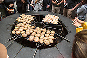 Food being cooked on volcanic grill at visitor centre, Parque Nacional de Timanfaya, national park, Lanzarote, Canary Islands