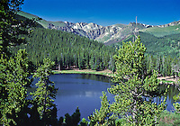14,264 ft. Mount Evans as viewed from Echo Lake, Front Range Mountains.  Colorado.