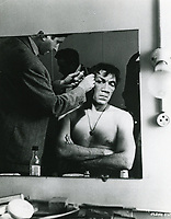 1957 Anthony Quinn having make-up applied for his role as Quasimoto in Allied Artist's Hunchback of Notre Dame