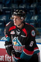 KELOWNA, CANADA - SEPTEMBER 28: Jack Cowell #8 of Kelowna Rockets warms up against the Prince George Cougars on September 28, 2016 at Prospera Place in Kelowna, British Columbia, Canada.  (Photo by Marissa Baecker/Shoot the Breeze)  *** Local Caption *** Jack Cowell;