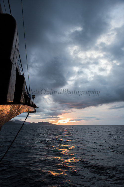 Dive boat<br /> Raja Ampat<br /> West Papua<br /> Indonesia<br /> A Pinisi type boat (Traditional Indonesian Motor Sailer)