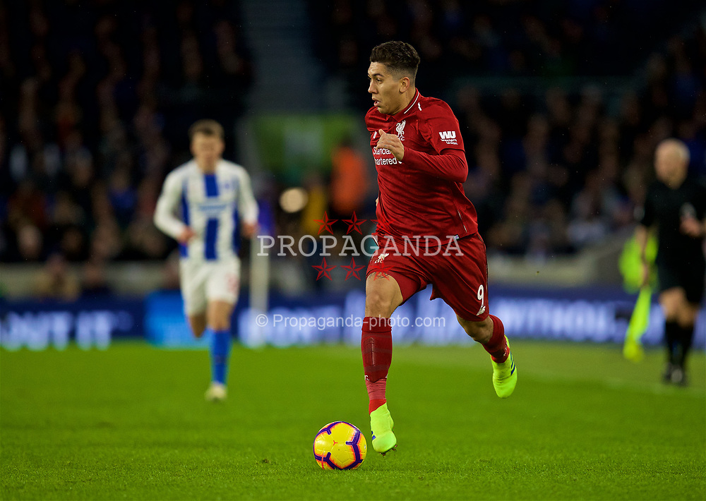 BRIGHTON AND HOVE, ENGLAND - Saturday, January 12, 2019: Liverpool's Roberto Firmino during the FA Premier League match between Brighton & Hove Albion FC and Liverpool FC at the American Express Community Stadium. (Pic by David Rawcliffe/Propaganda)