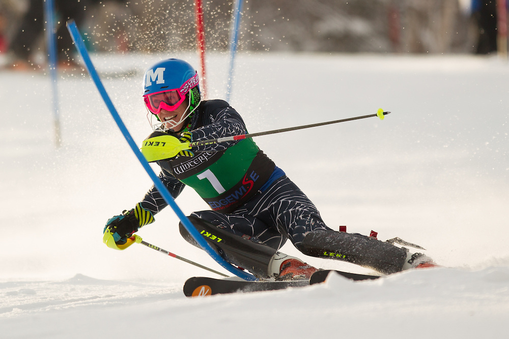 Hig Roberts of Middlebury College, skis during the first run of the men's slalom at the Colby College Carnival at Sugarloaf Mountain on January 18, 2014 in Carabassett Valley, ME. (Dustin Satloff/EISA)