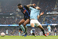 Rotherham United defender Semi Ajayi (5)challenges 33 Gabriel Jesus for Manchester City during the The FA Cup 3rd round match between Manchester City and Rotherham United at the Etihad Stadium, Manchester, England on 6 January 2019.