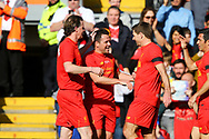 Michael Owen of Liverpool legends team (c) celebrates with his teammates Steve McManaman (l) and Steven Gerrard (r) after scoring his teams 1st goal. Liverpool Legends  v Real Madrid Legends, Charity match for the LFC Foundation at the Anfield stadium in Liverpool, Merseyside on Saturday 25th March 2017.<br /> pic by Chris Stading, Andrew Orchard sports photography.