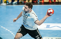Mihajlo Radojkovic of Trimo Trebnje during handball match between RK Trimo Trebnje and Rhein-Neckar Loewen in 6th Round of EHF Europe League 2020/21, on February 9, 2021 in Hala Tivoli, Ljubljana, Slovenia. Photo by Vid Ponikvar / Sportida